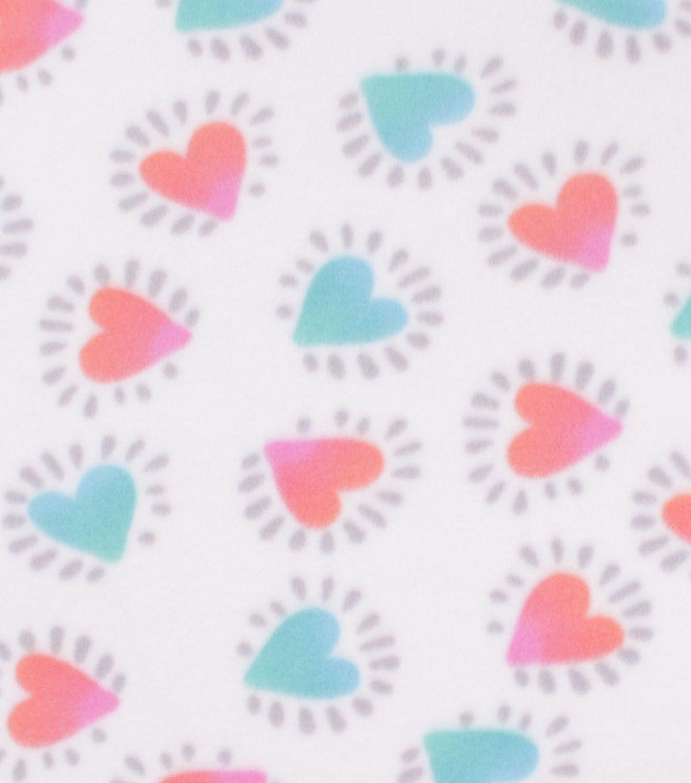 Blizzard fleece fabric hearts on white unit iii hat project