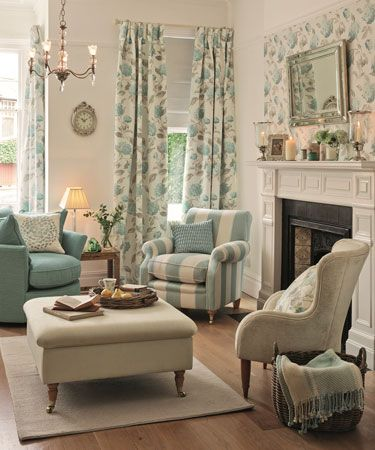 Floral Curtains Laura Ashley Hydrangea In Duck Egg Grey Living RoomsVintage