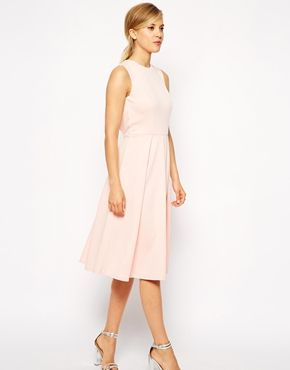 72902283a7d Enlarge ASOS Pleated Skater Midi Dress with Cut Out Back Cream Bridesmaid  Dresses