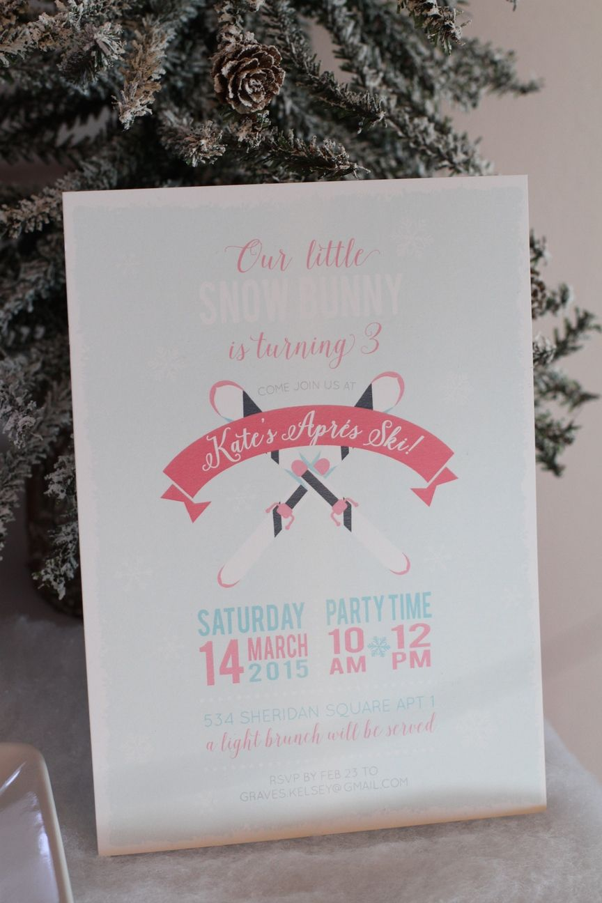 Invitation for a Snow Skiing themed birthday party Kids Birthday