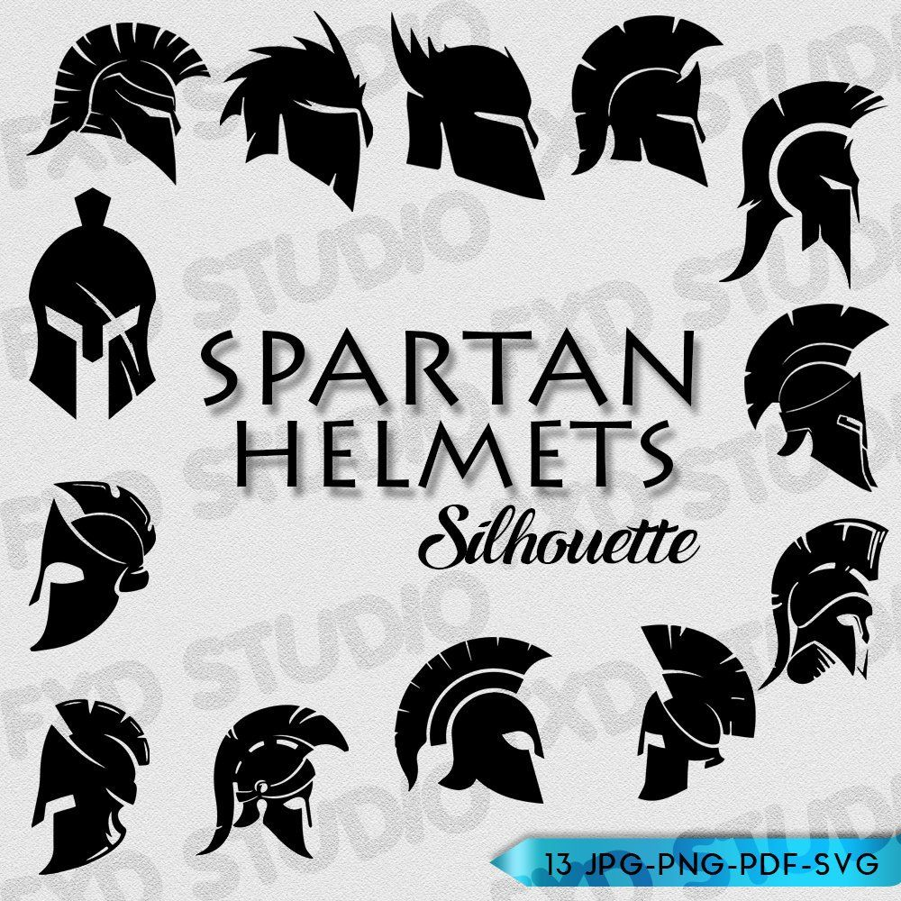 Spartan Helmets Silhouettes Clip Art Image Spartan Helmets Etsy Spartan Helmet Silhouette Clip Art Helmet Drawing