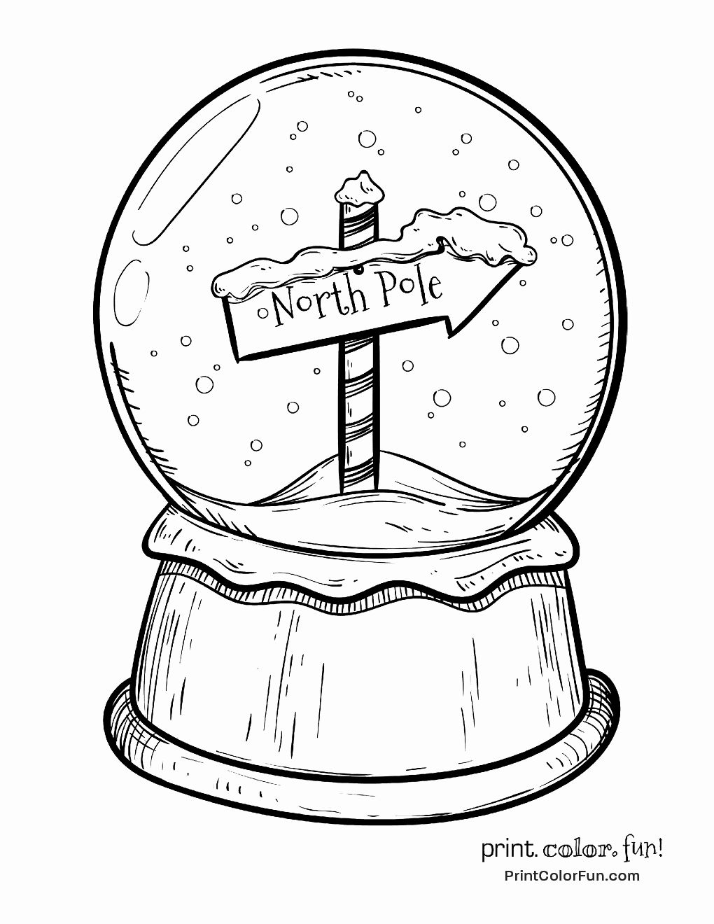 Snow Globe Coloring Page Best Of Christmas Snow Globe With North Pole Sign Coloring Page In 2020 Snow Globes Christmas Snow Globes Christmas Drawing