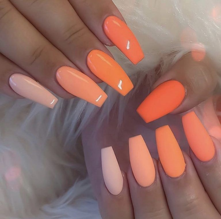 39 Gorgeous Summer Nails You Need To Try Chaylor Mads In 2020 Coffin Shape Nails Swag Nails Orange Nail Art