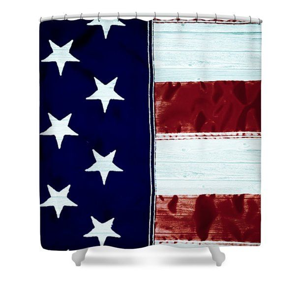 Country American Shower Curtains Unique Designer Curtain Red White Blue Bathroom Decor