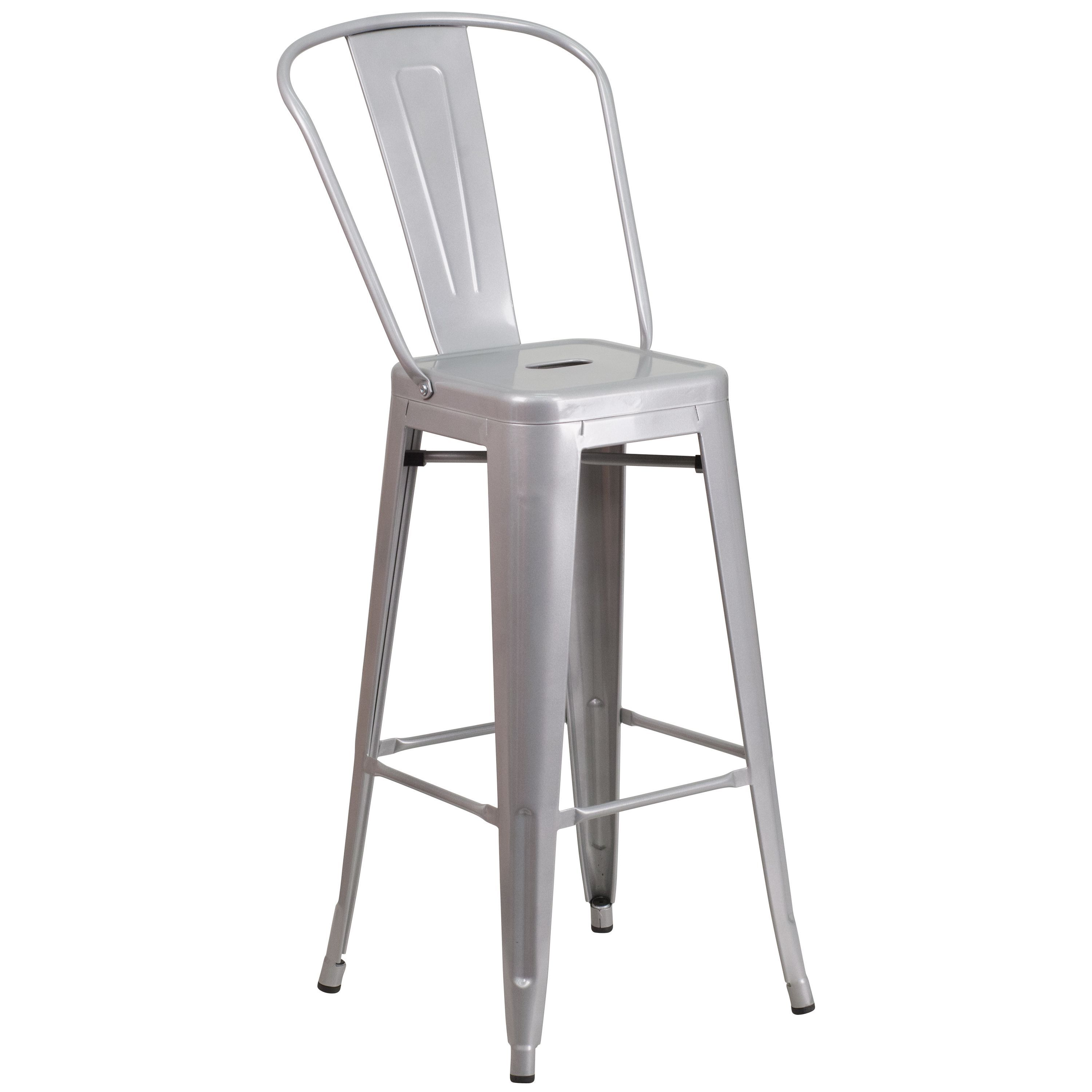 Flash furniture colorful 45 25 inch metal bar stool silver