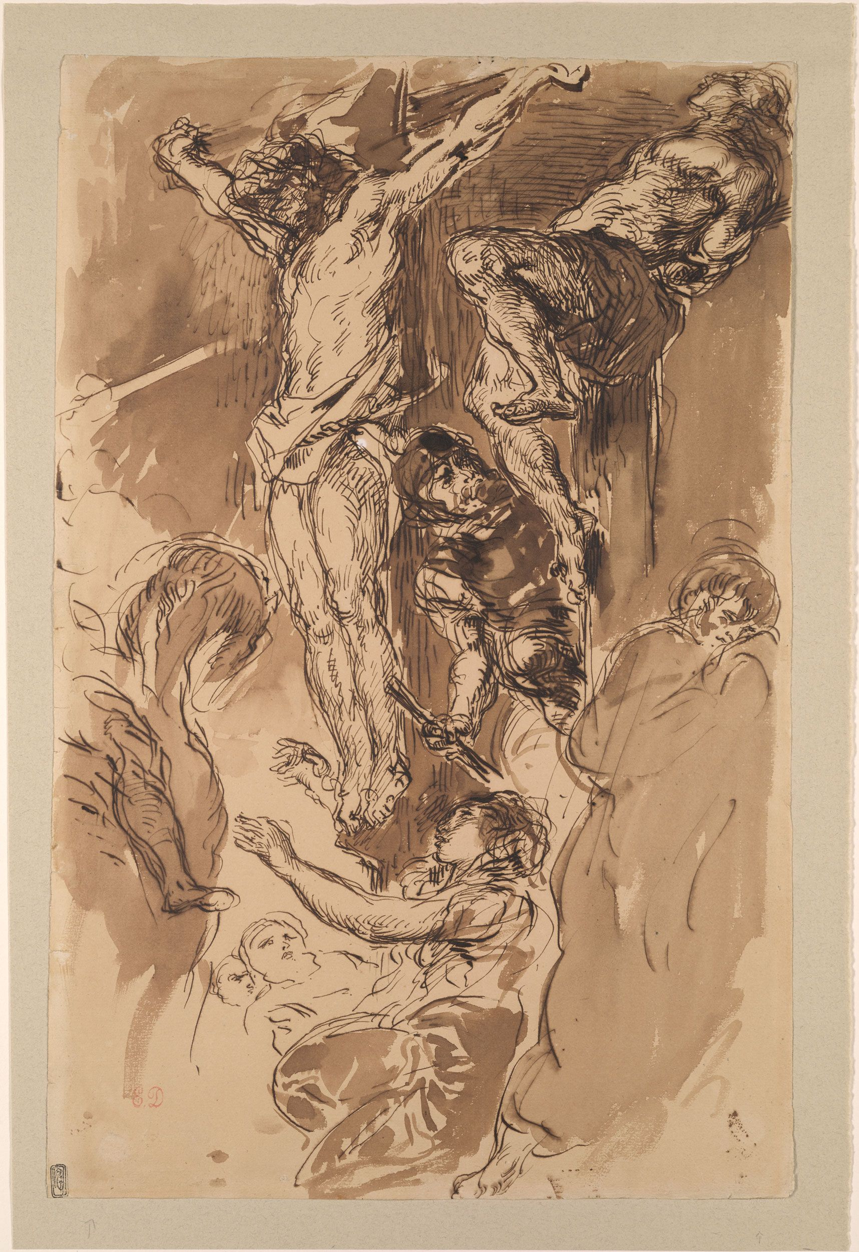 Eugène Delacroix (1798-1863), Christ on the Cross, ca. 1850, Pen and brown ink, brown wash, on paper