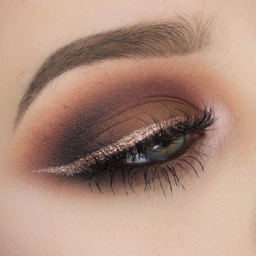 Brown Smokey Eyeshadow With Rose Gold Eyeliner Sultry