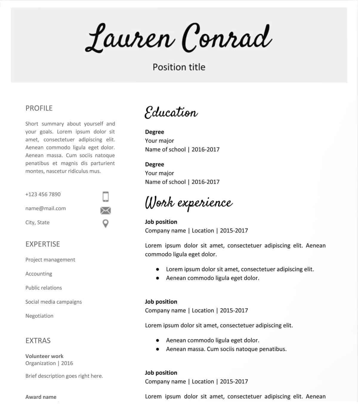 Downloadable resume template, Teacher resume template