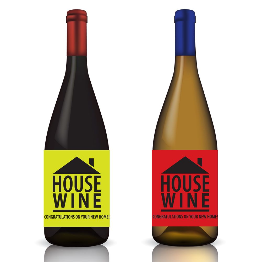House Wine ... Congrats On Your New Home - Wine Label Wrap In Green ...