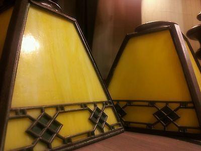 Rare signed handel lamp shades slag glass artscrafts art deco lemon yellow handel arts crafts mission slag glass lamp shades c1915 mozeypictures Image collections