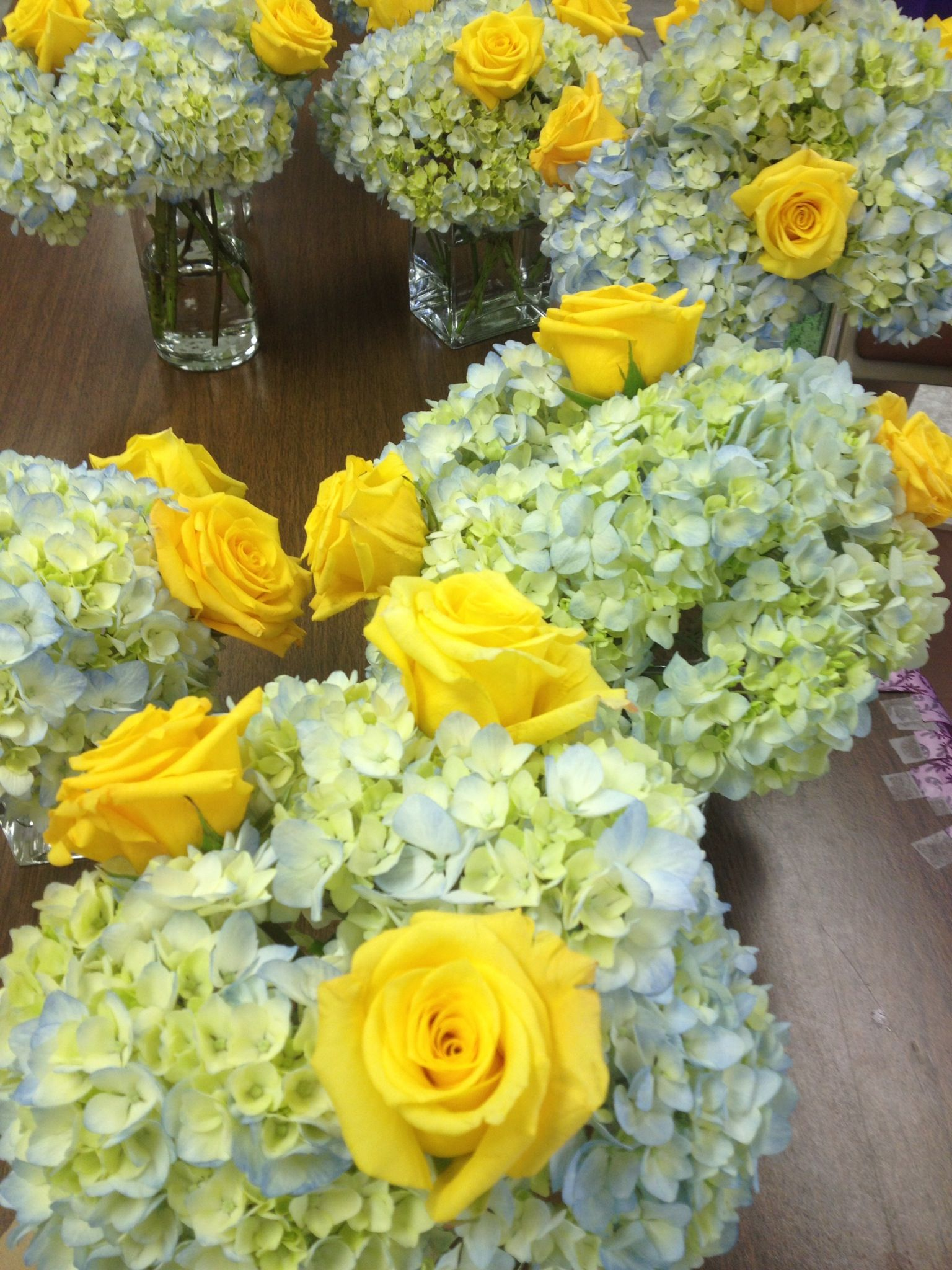 I Bought Sams Club Flowers Online Blue Hydrangeas And Yellow Roses