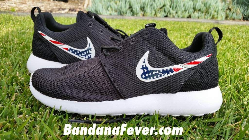 Custom Distressed American Flag Nike Roshe Shoes Black Bandana Fever In 2020 Nike Shoes Roshe Custom Nike Shoes Black Nike Roshe