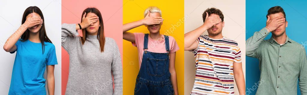 Set People Colorful Backgrounds Covering Eyes Hands Want See Something