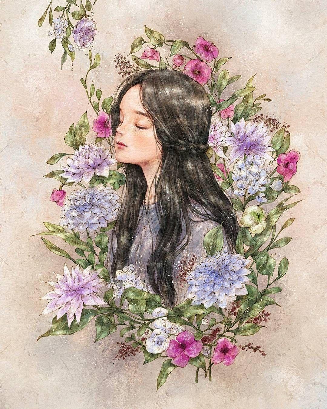 """애뽈 en Instagram: """"향기로 피어난 #소녀 #보라 #보라색 #식물 #꽃 #일러스트 #일러스트레이션 #illust #illustration #drawing #paint #girl #girlish #flower #purple #purpleflowers #blackhair"""""""