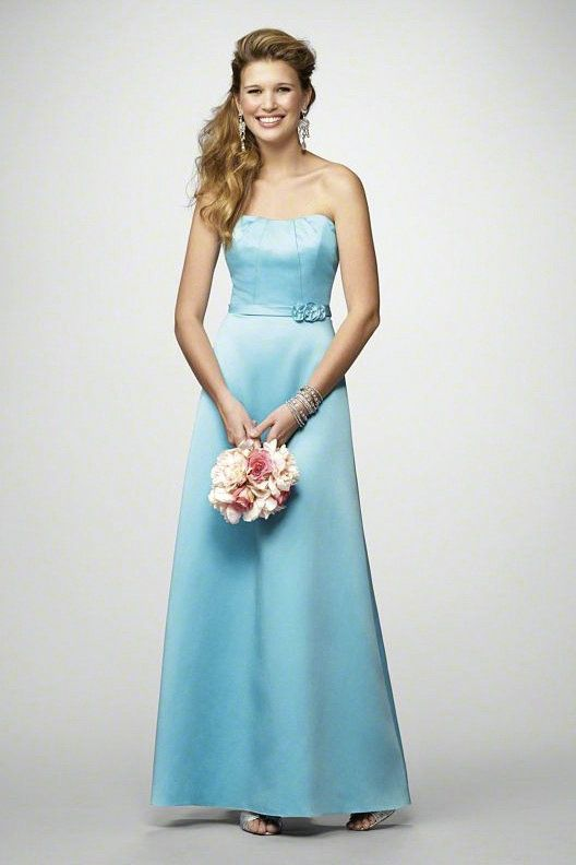 Strapless Sweetheart Ruched Elegant Long Sky Blue Bridesmaids ...