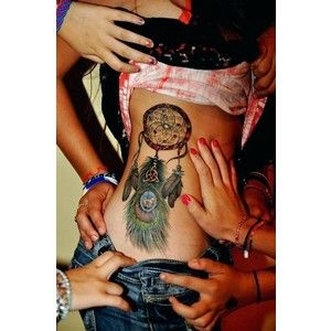 Dream Catcher Tattoo On Side Stunning Blue Dream Catcher Tattoo On Side Of Stomach  Google Search  Inkin Design Ideas