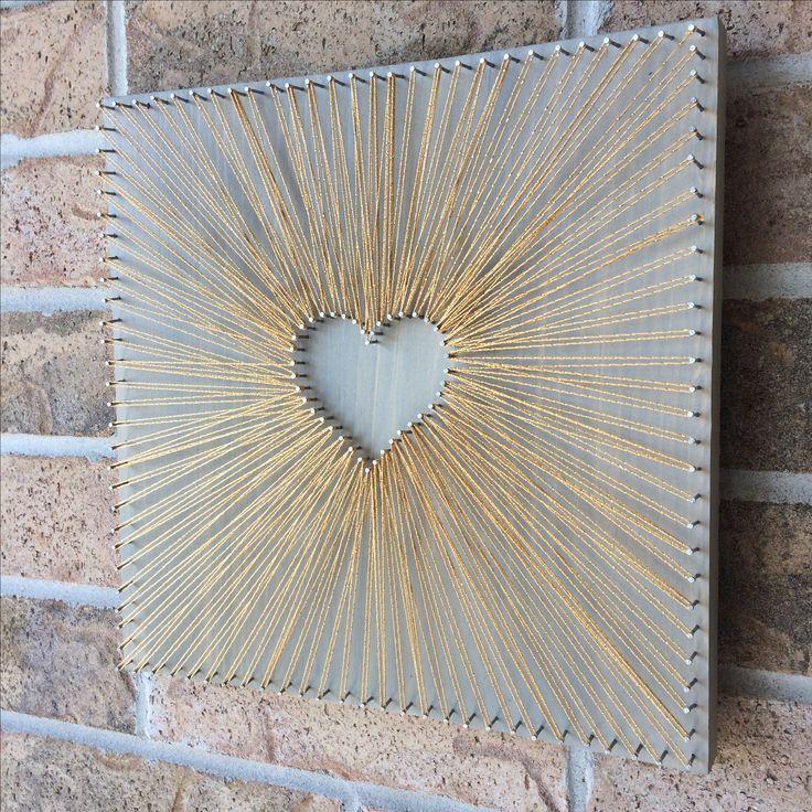 Reverse String Art Heart - Gold Inspiration - größeres Herz, damit ein Foto - #damit #heart #Inspiration #reverse #string #stringart