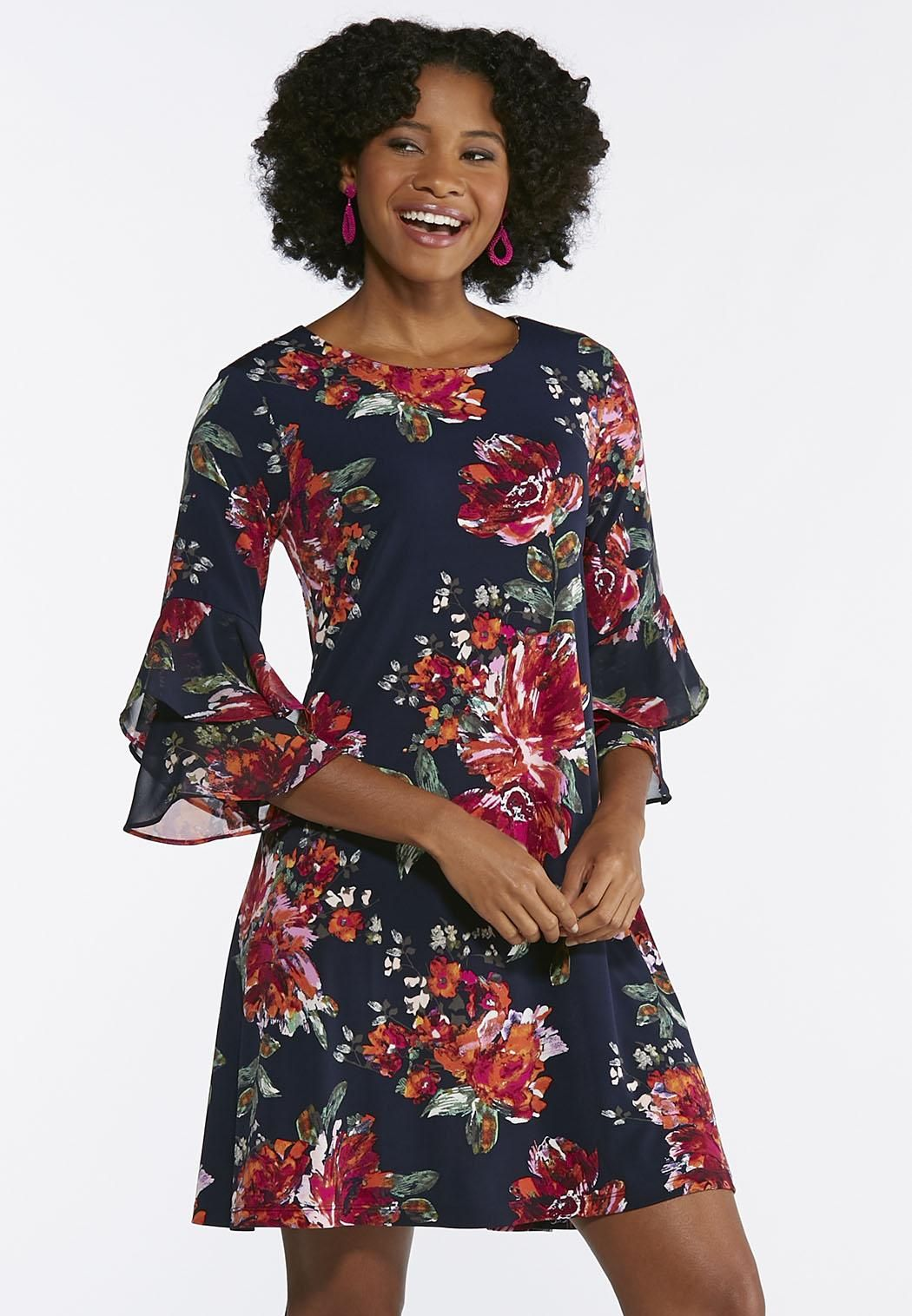 Blossoming Navy Swing Dress  catoconfident Cato Fashion Plus Size c67990265