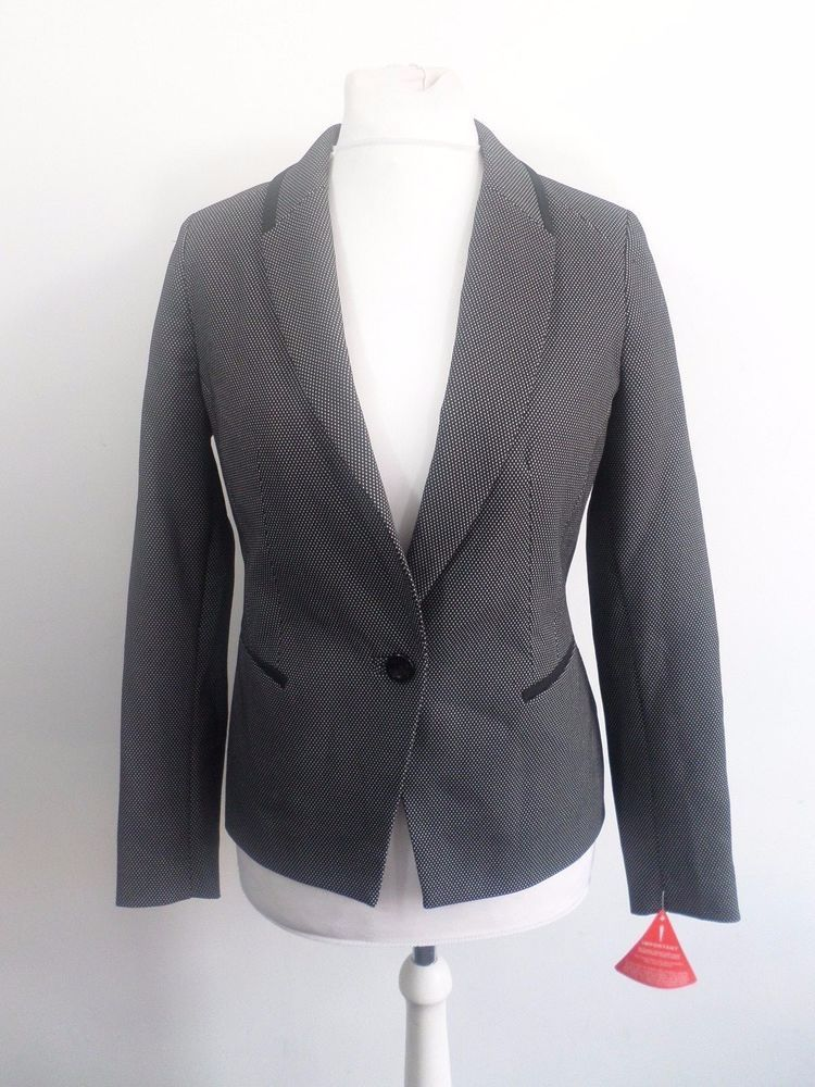8e95f9cf1040f0 V by Very Textured Spot Jacket Black Size UK 12 Box46 61 J  fashion   clothing  shoes  accessories  womensclothing  suitssuitseparates (ebay link)