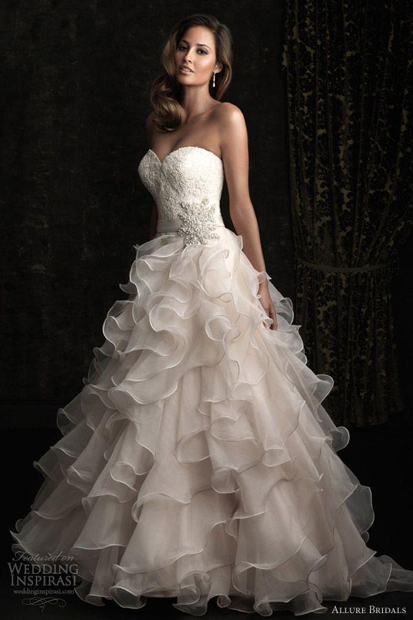 New allure bridals wedding dress strapless ball gown ruffle skirt