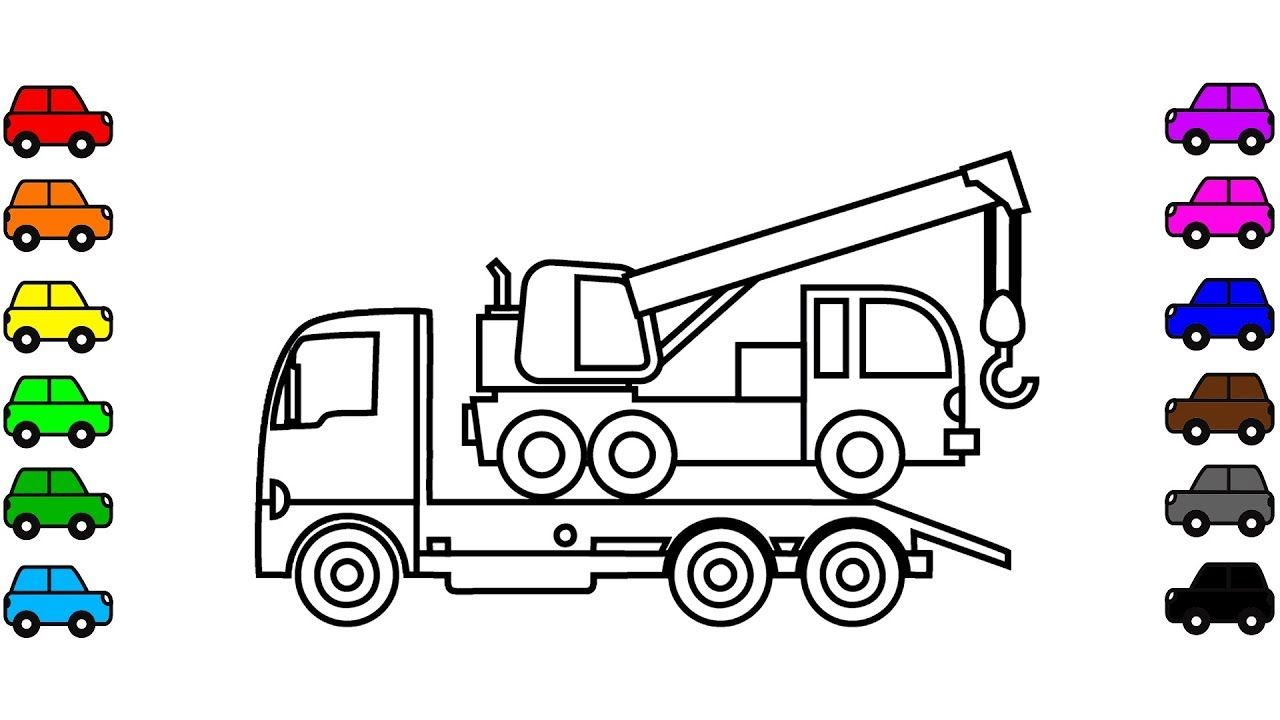 Learn colors with crane truck coloring pages, Construction truck ...
