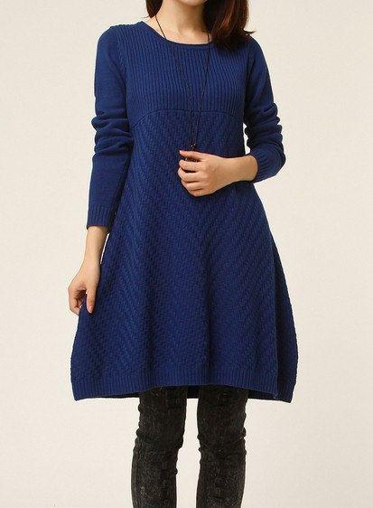 Dark blue sweater dress knitwear cotton dress  by ElegantGens
