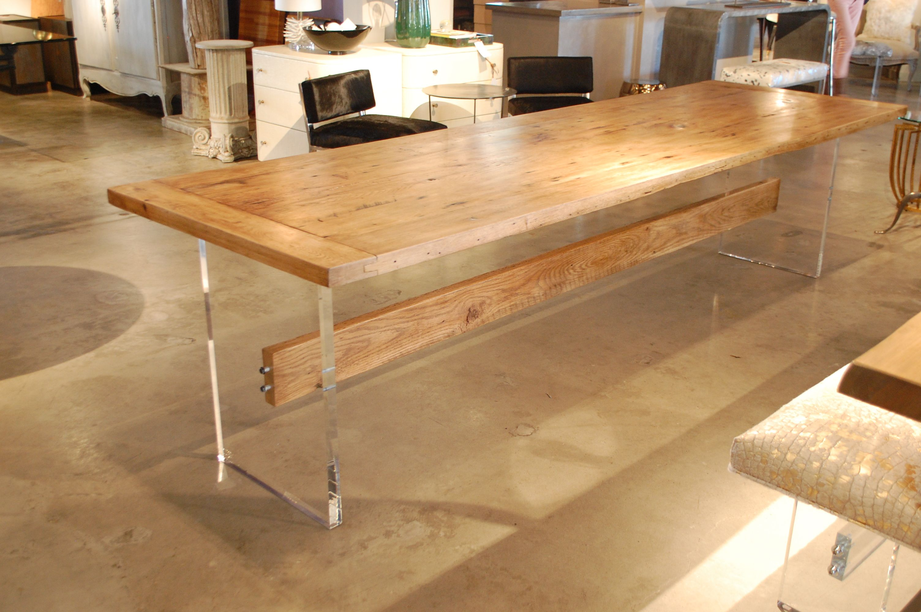 Custom Made Oak Top Table w/ Acrylic Slab Base and Wood