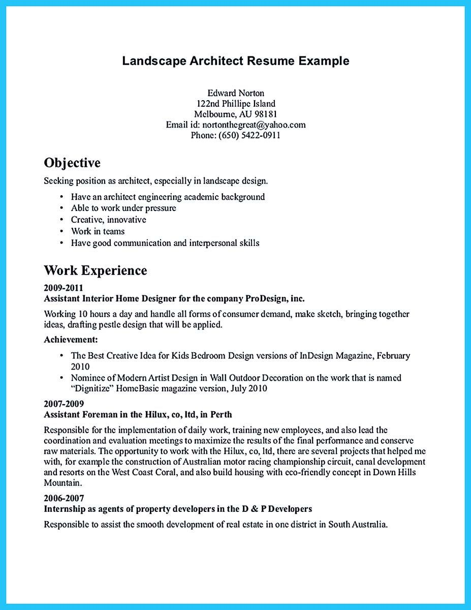 If You Are An Architect And You Want To Make A Proposal For Your Job You Need To Provide Architect R Architect Resume Architect Resume Sample Resume Examples