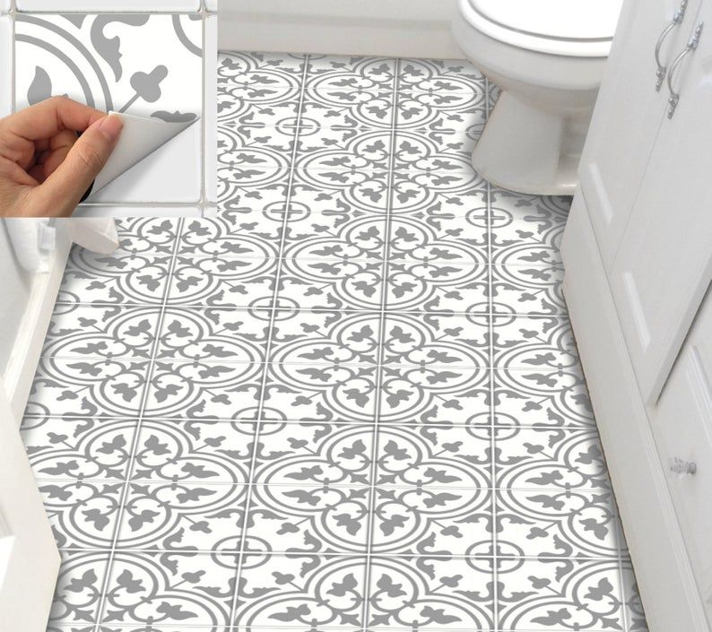 Tile Stickers Vinyl Decal Waterproof Removable For Kitchen Etsy In 2020 Peel And Stick Floor Flooring Floor Stickers