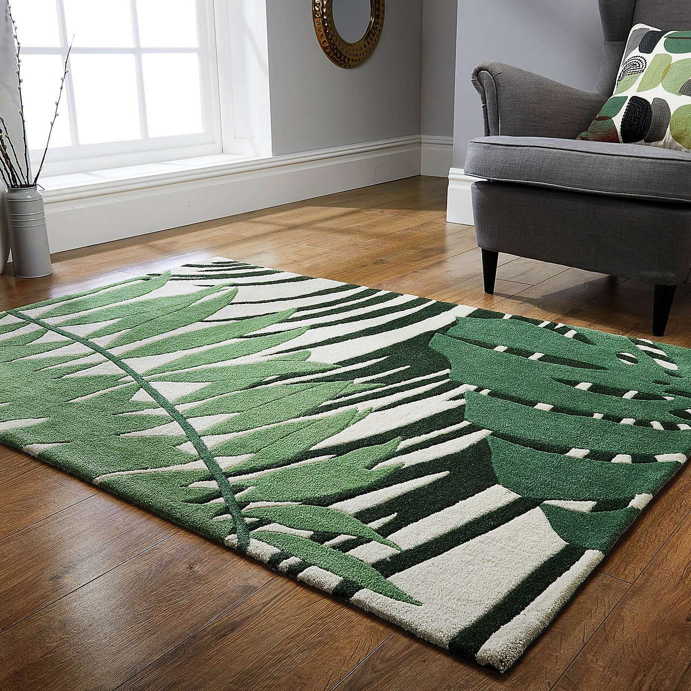 Voyager Leaf Rug Green Rug Living Room Green Rug Bedroom Funky Rugs