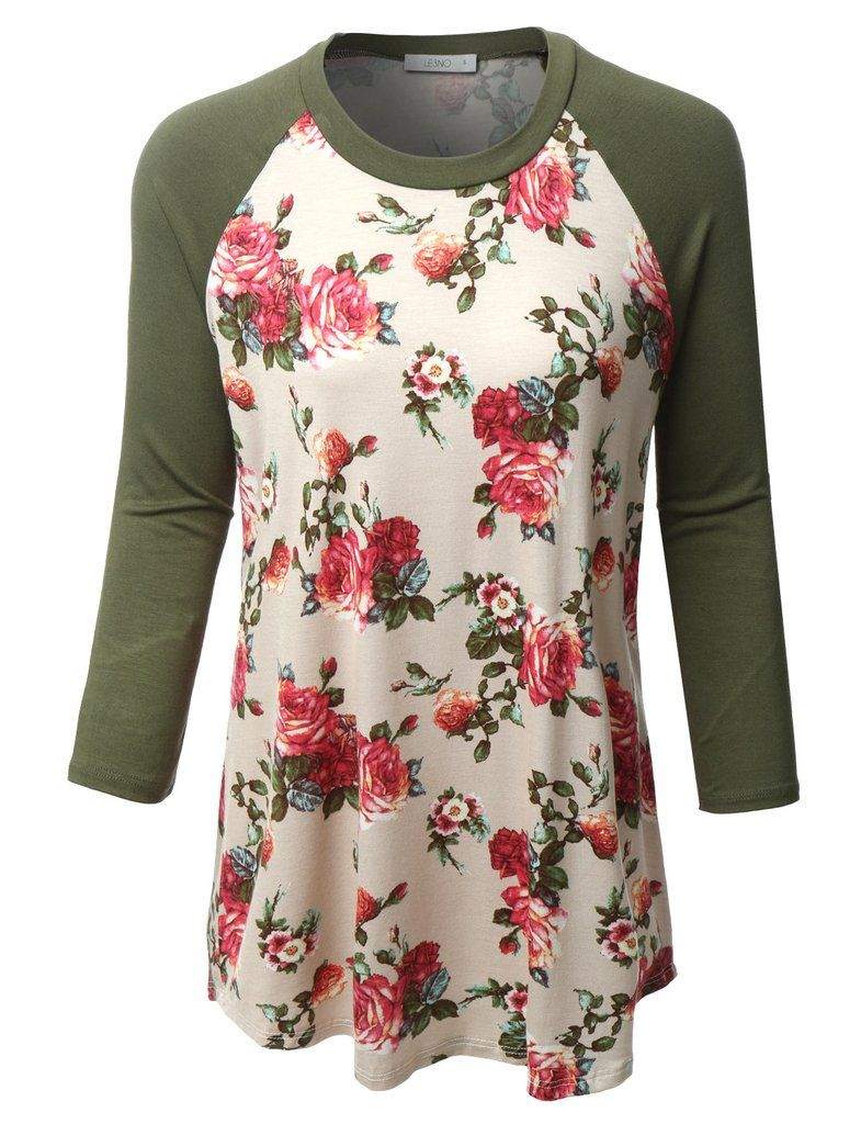 Le3no womens plus size floral print round neck 3 4 sleeve for Plus size 3 4 sleeve tee shirts