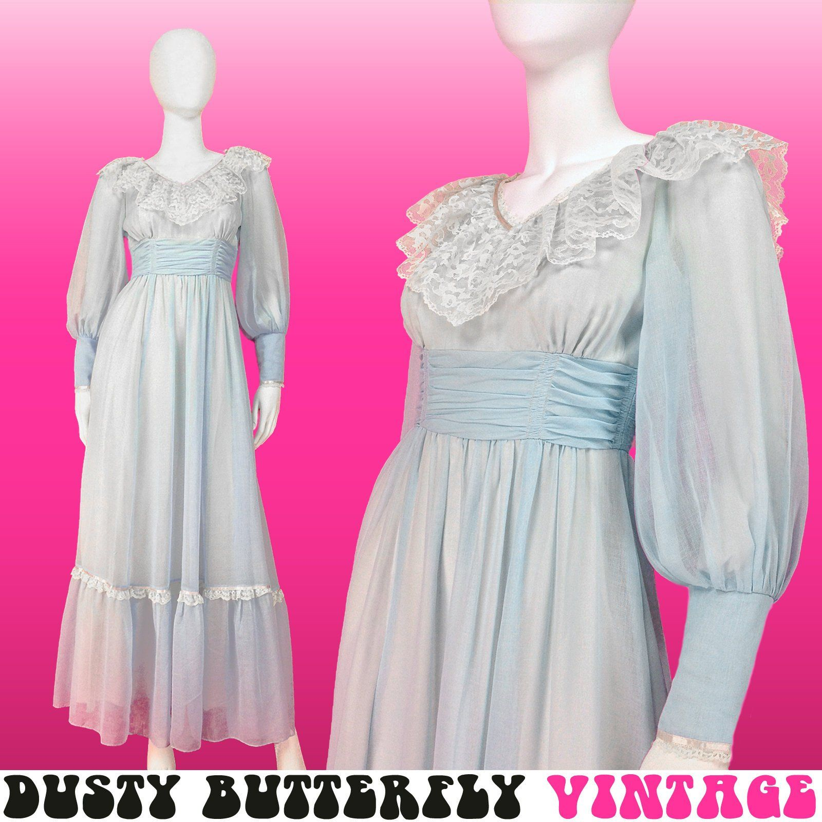 Vintage Long Prom Dress Xxs Xs 70s Maxi Dress Pastel Baby Blue Gunne Sax Style Bishop Sleeves Weddin Prom Dresses Vintage 70s Maxi Dress Prom Dresses 70s [ 1600 x 1600 Pixel ]