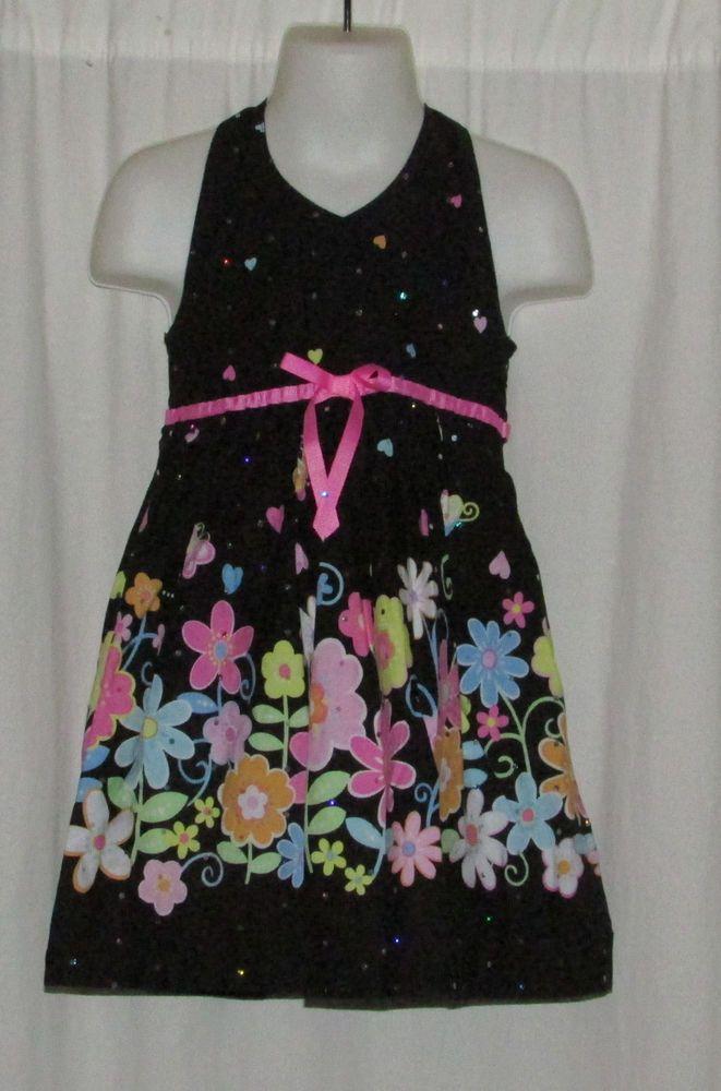 Item number- 381287483459 Girl's (Size 4) BLUEBERI BOULEVARD Black & Pink Floral Dress Halter Style #BlueberiBoulevard #DressyEveryday