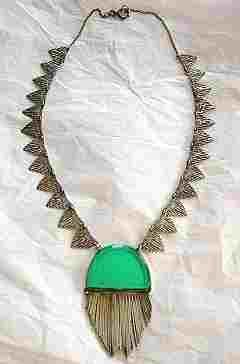 French Art Deco Jade & Silver Necklace