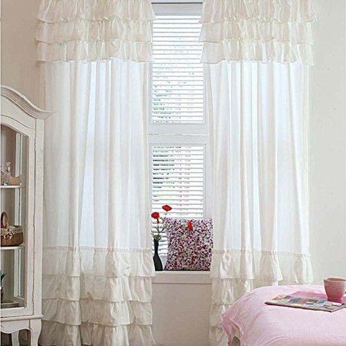 Elegant White Ruffle Curtain
