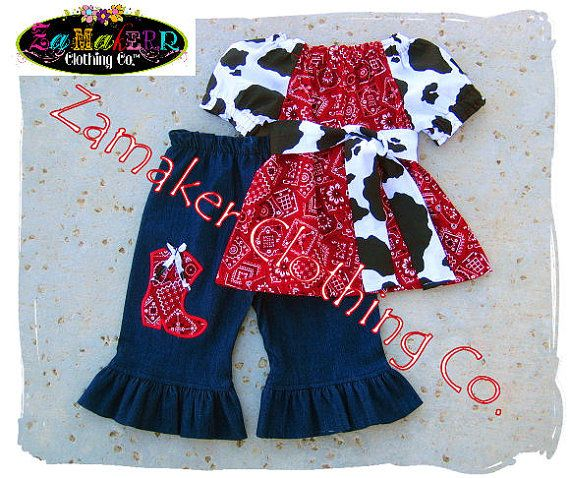 Items similar to Girl Cow Denim Outfit Set , Girl Farm Birthday Party , Cow  N Bandana Top Denim Pant Set 3 6 9 12 18 24 month size 2 3 4 5 6 7 8 on Etsy