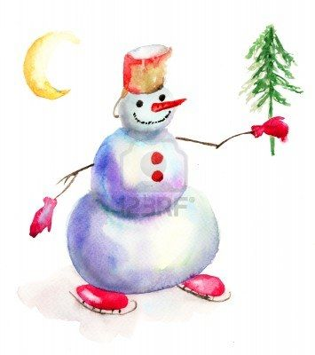 christmas card with snowman watercolor painting stock photo