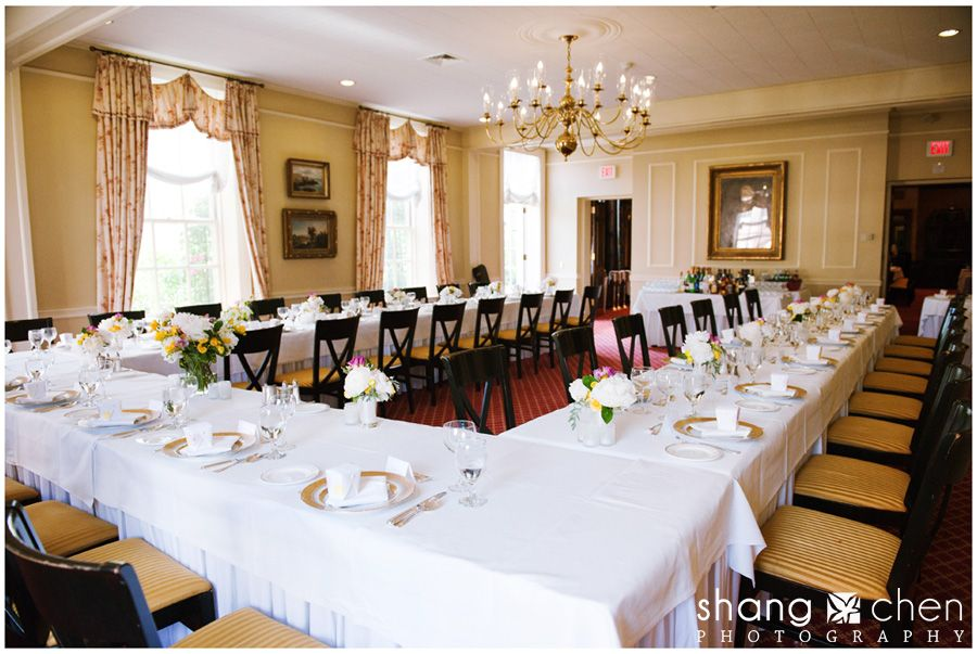 This U Shaped Wedding Reception Table Is Decorated With Peony Flower  Centerpieces.