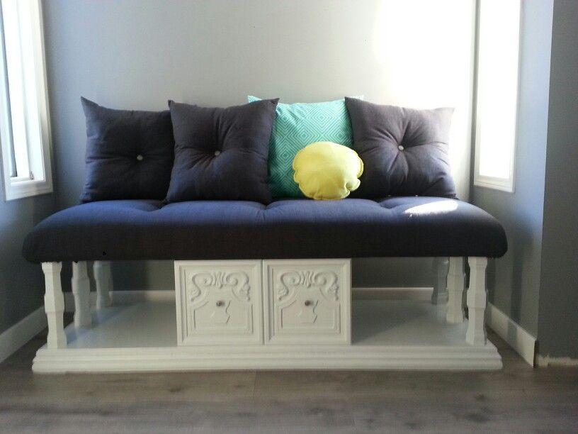 repurposed coffee table turned into window seat | diy home decor
