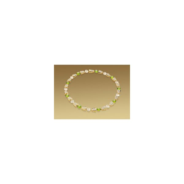 Bulgari Serpenti necklace in 18 kt yellow gold with peridots, moon quartzes and pavé diamonds
