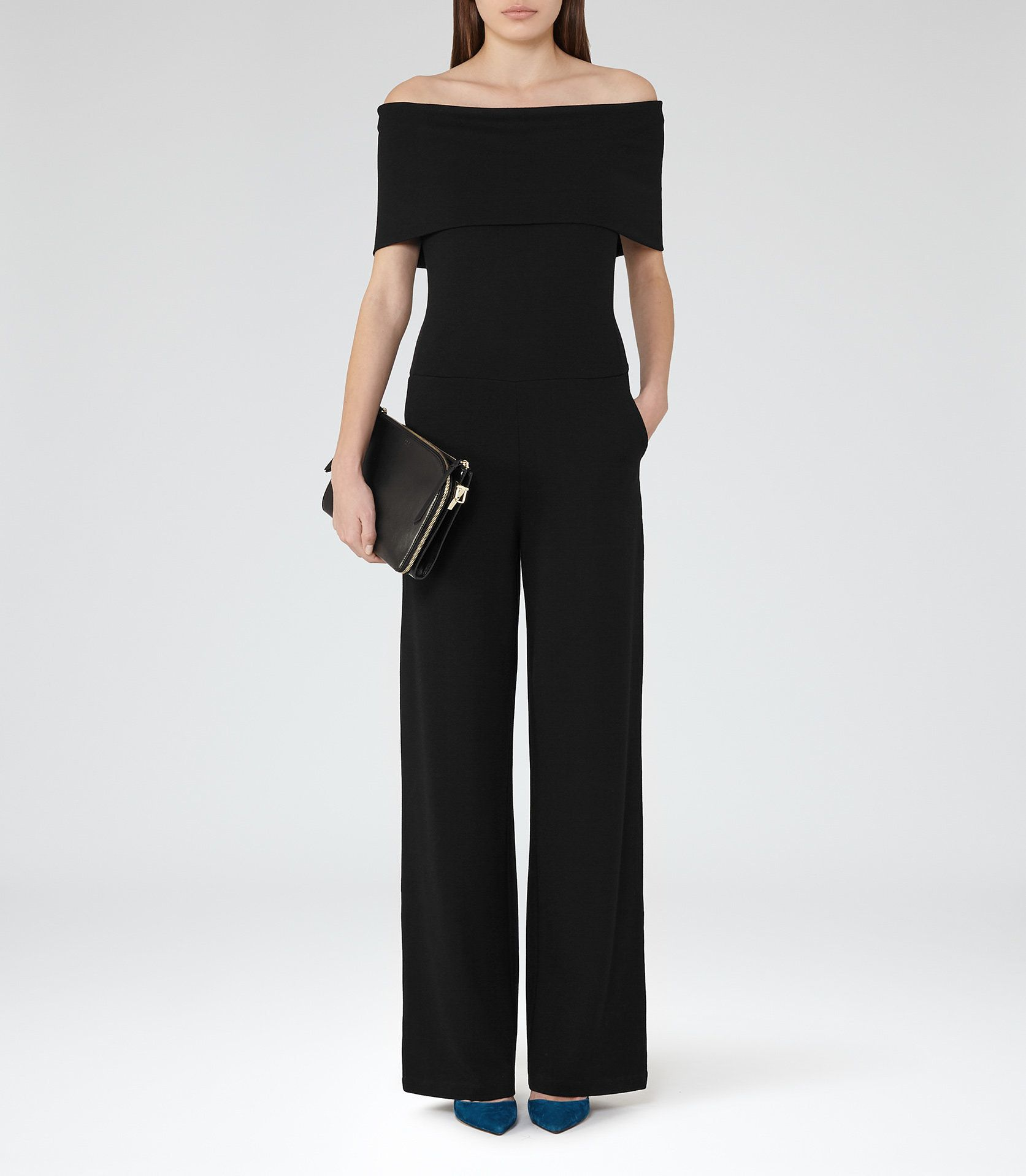 adff079665d Women s Clothes - Trendy Fashion Clothing For Sale Online. Raffi Black  Off-The-Shoulder Jumpsuit - REISS