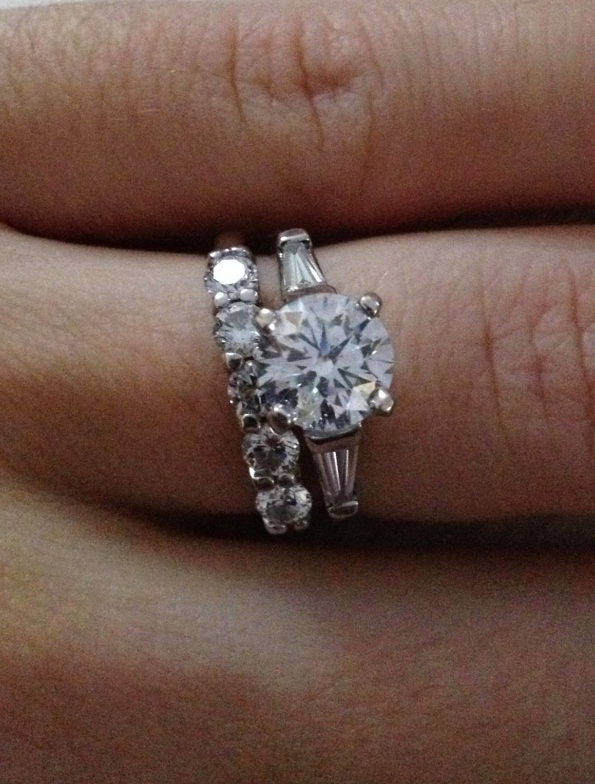 Round Diamond With Baguettes Engagement Ring And Small Round
