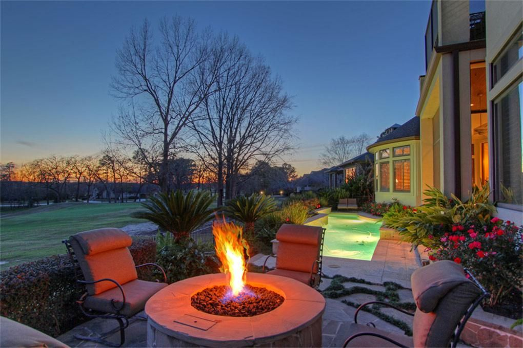 Fire pit & pool backyard & grass area.