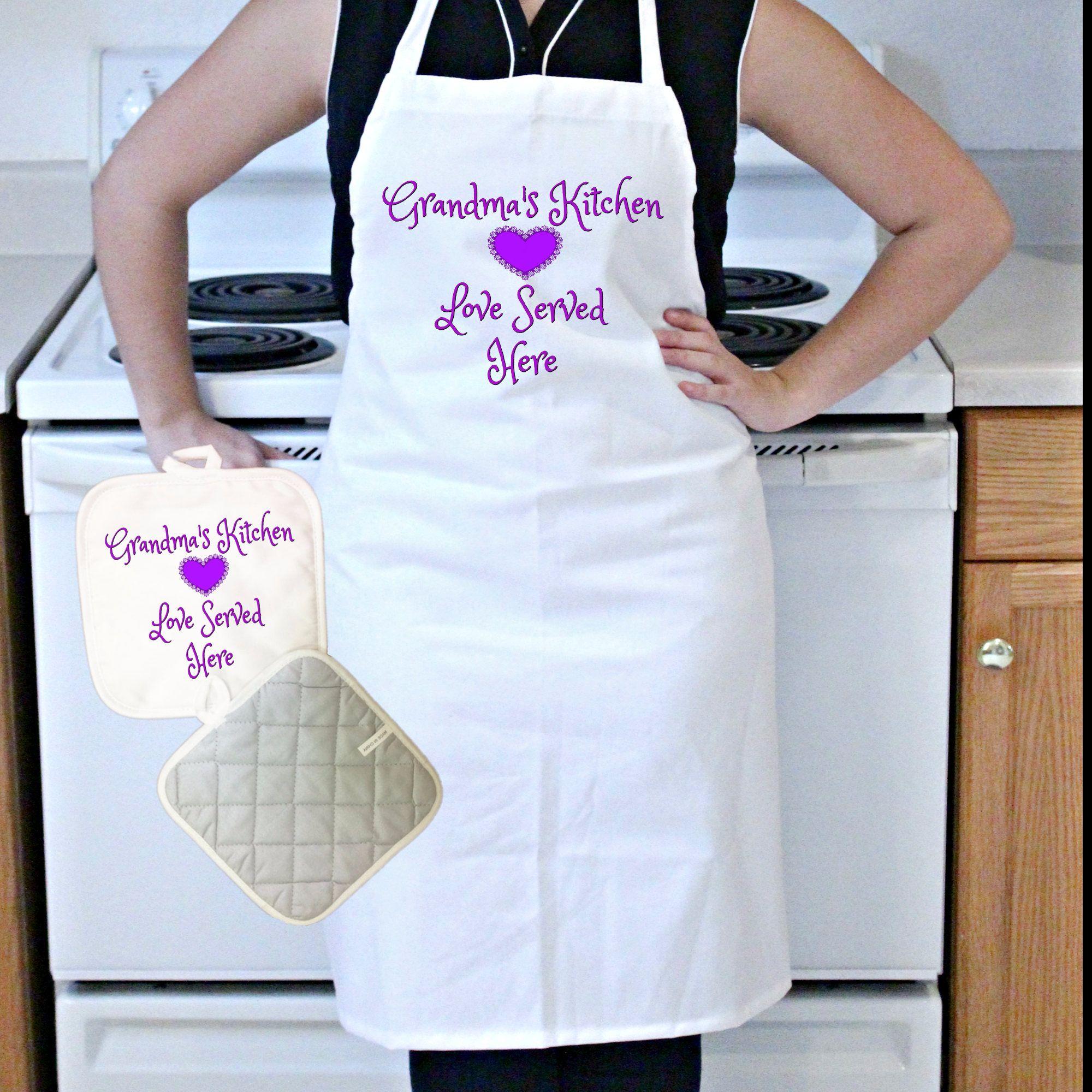 Gift For The Kitchen Custom Apron And Pot Holder Set Grandmas Kitchen Love Served