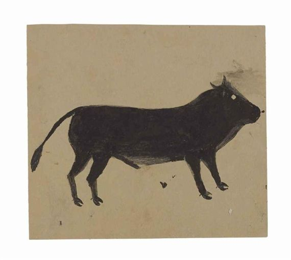 Bill Traylor - Black Bull, Pencil and poster paint