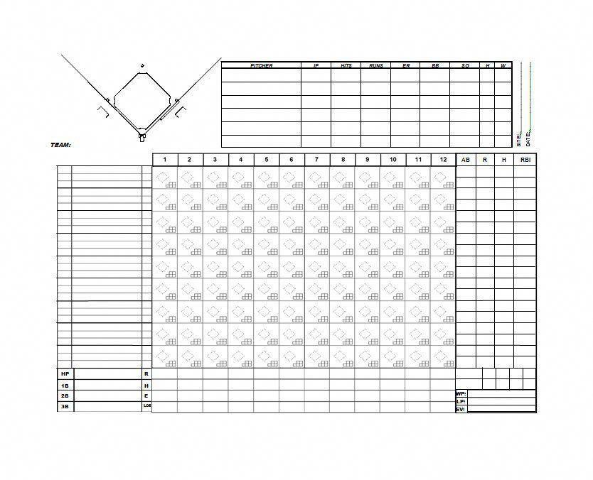 Baseball score sheet 30 printable baseball scoresheet