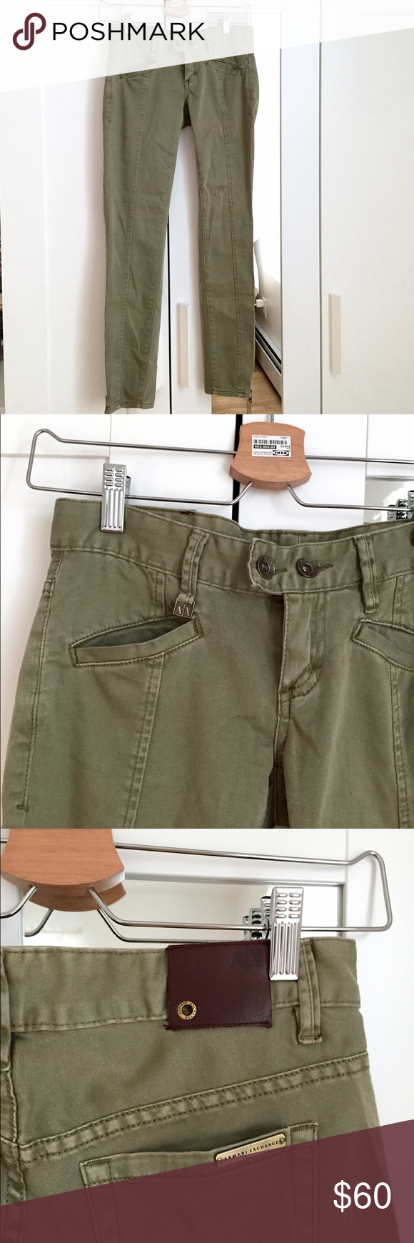 Armani exchange olive jeggings Super soft material. Never worn!! Ankle zippers. Great for everyday wear. Armani Exchange Jeans Straight Leg