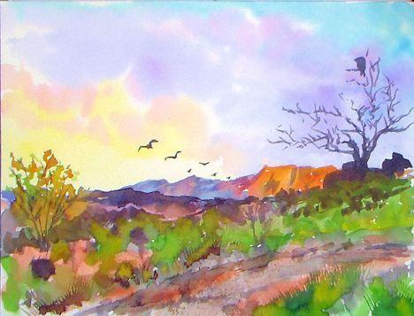 A Southwestern Landscape Watercolor Tutorial An Unfortunate Bird