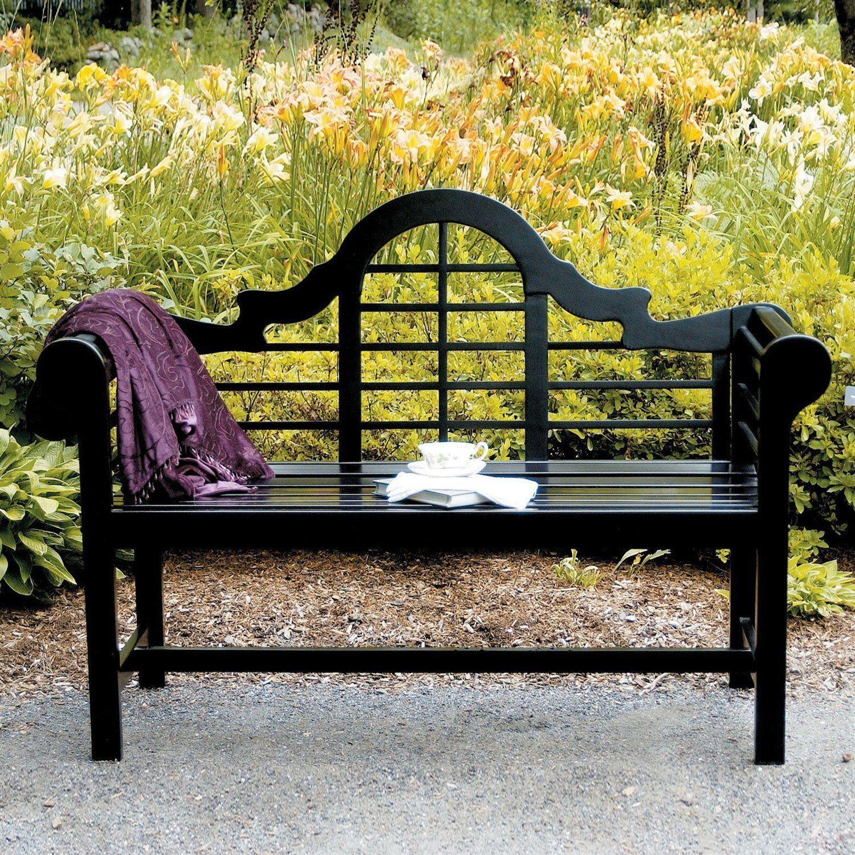 Weather Resistant 45 Ft Eucalyptus Outdoor Garden Bench In Black