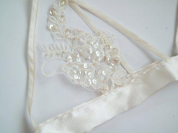Delicate white satin applique bralette soft bra handmade